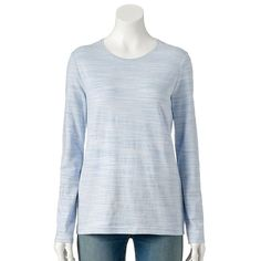 Women's Croft & Barrow® Classic Crewneck Tee, Size: XL, Med Blue