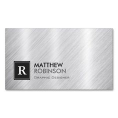 Premium Brushed Metal with Monogram Look Business Cards created by CardHunter. This design is available on several paper types and is totally customizable. All You Need Is, Construction Business Cards, Candy Packaging, Brushed Metal, Metallic, Things To Come, Monogram, Graphic Design, Card Templates