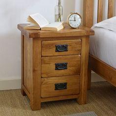 Dark Wood Furniture, Oak Furniture Land, Painted Bedroom Furniture, Cheap Furniture, Home Furniture, Furniture Ideas, 3 Drawer Bedside Table, Bedside Cabinet, Dresser As Nightstand