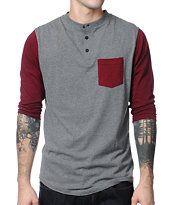 Dravus Pickpocket Grey & Maroon Henley Baseball Tee Shirt