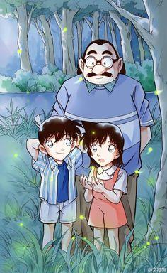 Professor Agasa with young Shinichi and Ran (Detective Conan)
