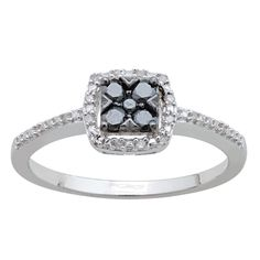 Sterling 1/4ct TDW Black and White Diamond Ring