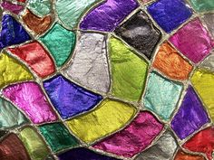 foil embossing: glue yard to canvas or paper, spray adhesive foil to cover; have kids press foil around yarn; then paint with colored sharpies leaving silver for the silver lines