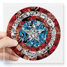 """Captain America Shield Coll Square Sticker 3"""" x 3"""" on CafePress.com"""
