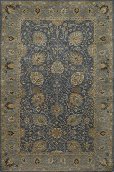 Influenced by the beautiful Haji Jalili, this area rug creates an elegant masterpiece for your floors! Available at Rug & Home! #traditional #blue #persian