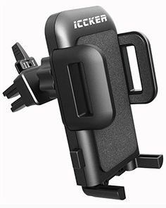 ICCKER Car Phone Mount - Fabulous Simple Convenient Universal Full 360° Rotation Adjustable Smartphone Car Air Vent Holder Cradle with One Touch Design, Black  https://topcellulardeals.com/product/iccker-car-phone-mount-fabulous-simple-convenient-universal-full-360-rotation-adjustable-smartphone-car-air-vent-holder-cradle-with-one-touch-design-black/  ★High performance material:ICCKER Car Air Vent Phone Mount is made of premier PC/ABS material.Excellent High-impact mechani
