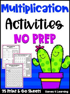 Kiddos love these multiplication activity sheets - more than just a worksheet, these activities are fun, engaging and meaningful! Contains 35 activities to develop multiplication fact fluency. Multiplication Activities, Learning Resources, Teaching Ideas, Activity Sheets, Math Classroom, Third Grade, Prepping, Education, Fun