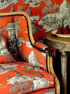 orange toile: Manuel Canovas