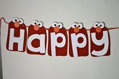 Elmo Happy Birthday Banner. $25.00, via Etsy.
