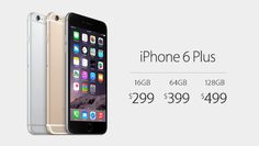 iPhone6Plus starts at $299 with a two-year contract.