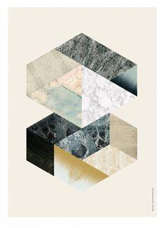 Ferm Living Pannelli 'esagono' in multistrato di betulla, bianco / multicolore, 29,7 x42 cm