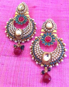 Pearl Flower AND Kundan Dazzle Pearl Polki Earring Ethnic Indian Jewelry H79 | eBay