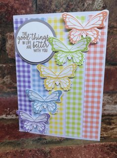 Here's a card tutorial using the Gingham Gala DSP and Butterfly Gala stamp set and coordinating punch Making Greeting Cards, Greeting Cards Handmade, Butterfly Cards Handmade, Making Cards, Card Making Tutorials, Easy Card Making Ideas, Stamping Up Cards, Card Patterns, Handmade Birthday Cards
