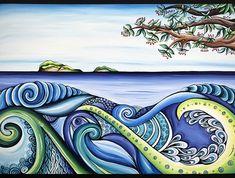 Beautiful New Zealand Artwork. A look of zentangle + shades of blue! Art Maori, Zealand Tattoo, Maori Designs, New Zealand Art, Nz Art, Art Premier, Kiwiana, Surf Art, Zentangle Patterns