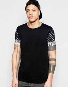 ASOS Longline T-Shirt With Paisley Sleeves And Scoop Back Hem - Black #style #fashion #moda