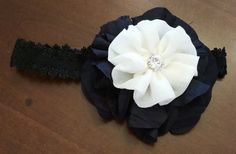 Baby Girl Headband-Black and White by LoveFromAshley on Etsy