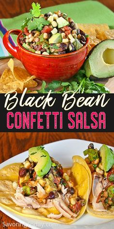 Black Bean Confetti Salsa is heartier than the usual tomato salsa—plump beans, spicy chili, sweet corn, and creamy avocado make it hard to resist. Low Carb Appetizers, Appetizers For Party, Appetizer Recipes, Appetizer Ideas, Party Recipes, Spicy Chili, Sweet Chili, Mexican Food Recipes, Ethnic Recipes