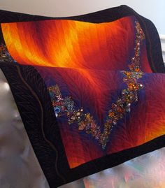 Art Quilt Flaming Bargello Wall Hanging by SallyManke on Etsy