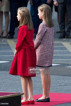Princess Leonor of Spain (L) and Princess Sofia of Spain (R) attend the National Day Military Parade 2017 on October 12, 2017 in Madrid, Spain.
