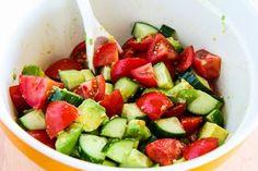 Vegan Tomato Salad with Cucumber, Avocado, Cilantro, and Lime found on Kalynskitchen.com