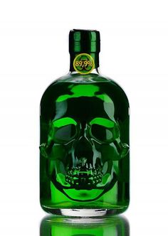 Not only the unusual shape of its bottle, also its extraordinary, bitter taste, makes this absinthe something special. With its alcohol strength, this Absinthe is strong! Alcohol Bottles, Liquor Bottles, Tequila Bottles, Bourbon Whiskey, Vodka, Green Fairy, Skull And Bones, Artemisia Absinthium, Meals