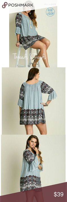 Plus Size! Vintage Print Tunic Dress Plus size vintage print tunic dress. Beautiful colors of blues and creams. Pair with leggings, skinny pants or denim.                                                                                          Made of 65% cotton, 35% polyester. Threads & Trends  Dresses