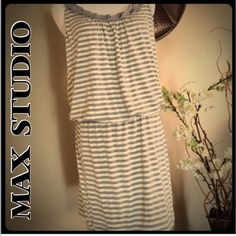 Max Studio striped dress Grey and cream striped dress. Elastic waist. Nice collar detail. Worn once. Max Studio Dresses