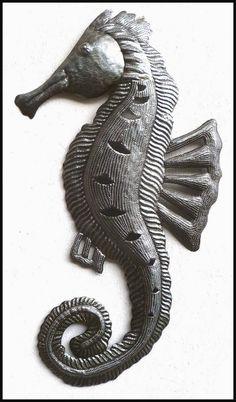 Metal seahorse - Haiti Metal Art wall hanging