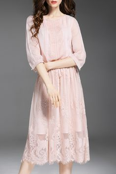 Embroidered See-Through Midi Dress