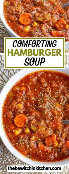 This comforting hamburger soup recipe is an easy meal to make for dinner. You can also add your own ingredients that you have on hand to make it your own! Click here to learn how to make the Best hamburger soup recipe! Quick And Easy Soup, Dinner Recipes Easy Quick, Vegetarian Recipes Dinner, Entree Recipes, Delicious Dinner Recipes, Easy Dinners, Best Soup Recipes, Vegetable Soup Recipes, Chowder Recipes