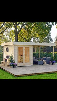 backyard studio is usually a shed or granny flat you put to good purpose by building or renovating it to serve as a studio. A backyard studio can be a Shed Design, House Design, Outdoor Rooms, Outdoor Living, Indoor Outdoor, Outdoor Sauna, Gazebo, Pergola, Backyard Studio