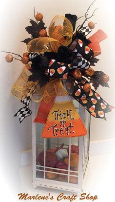 Halloween Lantern Swag, Halloween Wreath accent bow, Candy Corn decoration,Halloween Decoration, Halloween Lantern topper,candy corn bow by MarlenesCraftShop on Etsy