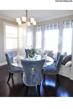 Dining room with blue velvet chairs and window bench. Elegant Dining Room, Luxury Dining Room, Dining Room Sets, Dining Room Design, Dining Area, Tufted Dining Chairs, Wingback Chairs, Dining Chair Set, Swivel Chair