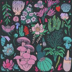 """Plant Life"" by Deth P. Art And Illustration, Illustrations, Kunst Inspo, Art Inspo, Mushroom Art, Alphonse Mucha, Hippie Art, Posca, Psychedelic Art"