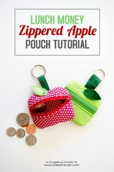 How to make a Lunch Money Zippered Apple Pouch Sewing Projects For Beginners, Sewing Tutorials, Sewing Hacks, Sewing Crafts, Tutorial Sewing, Bag Tutorials, Diy Pouch No Zipper, Zipper Pouch Tutorial, Purse Tutorial
