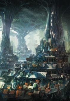 Cover artwork - Forest village by Leon Tukker High Fantasy, Fantasy Forest, Fantasy City, Fantasy Castle, Fantasy Places, Fantasy Map, Fantasy Kunst, Fantasy World, Fantasy Art Landscapes