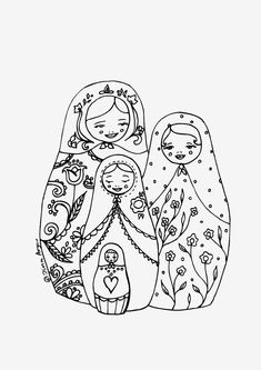 Printable coloring page PDF Matryoshka illustration - family.
