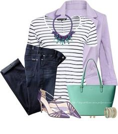 Lavender blazer, striped t shirt casual spring outfit bmodish Blazer Outfits, Casual Outfits, Cute Outfits, Purple Outfits, Spring Outfits, Purple Shoes, Work Casual, Casual Chic, Look Fashion