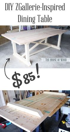 Build your own $85 ZGallerie-inspired Dining Table with this tutorial by Jen Woodhouse and free plans by Ana White! #houseofwood #anawhite #zgallerie #diningtable #diy #furniture