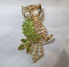 Vintage Swoboda Owl Pin Brooch Gemstones Peridot by vintagelady7