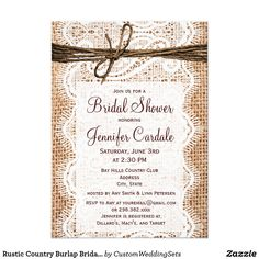 Rustic Country Burlap Bridal Shower Invitations