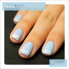 Bow white and light blue nails. #ART