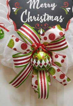 Items similar to Christmas Wreath White Iridescent Mesh Ornament Wreath Winter Wreath Holiday Mesh Wreath Merry Christmas Wreath on Etsy Christmas Ribbon Crafts, Blue Christmas Decor, Merry Christmas Sign, Indoor Christmas Decorations, Christmas Bows, Christmas Tree Toppers, Christmas Tree Ornaments, Whoville Christmas, Wreath Crafts
