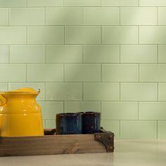 "Aspect A50-65 Peel and Stick Backsplash Glass Tile for Kitchen and Bathrooms, 3"" x 6"", Fresh Sage - - Amazon.com"