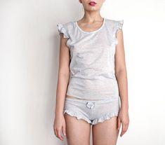 Heathered Grey Ruffled Panties Boyshorts by TatianasThreads, $25.00