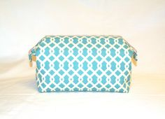 new Super Sized Make-Up Travel Bag in Jade and Cream Lattice Print by…