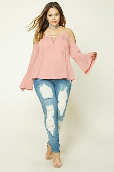 8e68e8bb054cb Forever 21+ - A knit top featuring a V-neckline with a lace-
