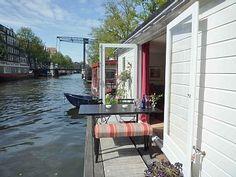 Terrace of a houseboat, Jordaan, Amsterdam, Netherlands