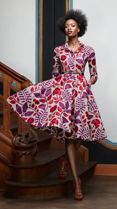 fitted bodice with push-up sleeves, semi-circle skirt, side pockets and hidden snap front closure. Vintage Style Dress - African Wax Print Dress- Made-to-Measure - African Print Dress- Classic Dress- Custom Made. African Inspired Fashion, African Print Fashion, Fashion Prints, Fashion Art, Vintage Fashion, Womens Fashion, Fashion Design, African Prints, Fashion Ideas