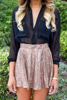 Sparkling Mini Skirt With Chiffon Double Pocket Black  Shirt